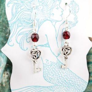 Ruby Red Czech Glass Key Charm Earrings